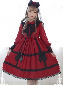 Devil's Wing Red Long Sleeve Gothic Lolita Dress