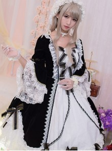Flower Bowknots Black And White Stitching Sweet Lolita Trumpet Sleeve Dress