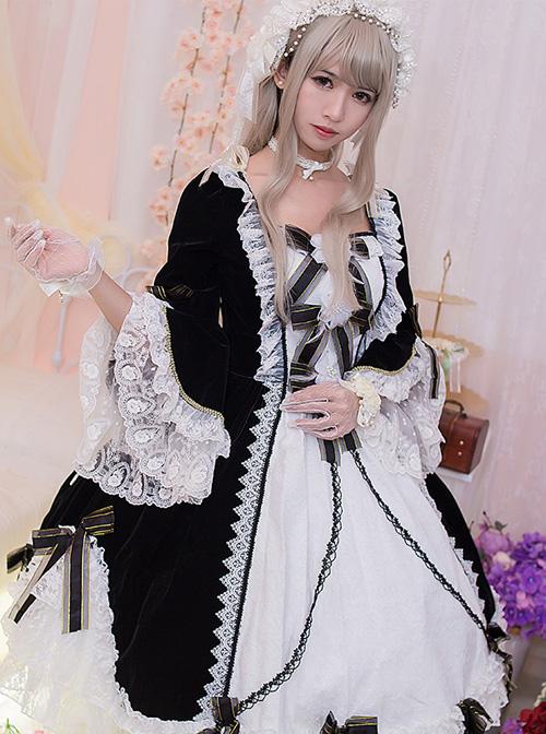 Flower Bowknots Black And White Stitching Sweet Lolita Trumpet Sleeve Dress
