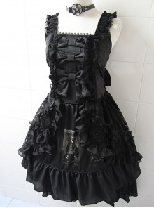 Black Sleeveless Halter Gothic Punk Lolita Dress