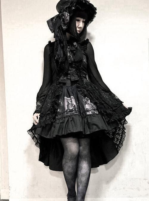 Black Sleeveless Halter Gothic Punk Lolita Dress