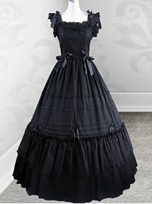 Black Retro Victorian Gothic Lolita Fly Sleeves Long Dress