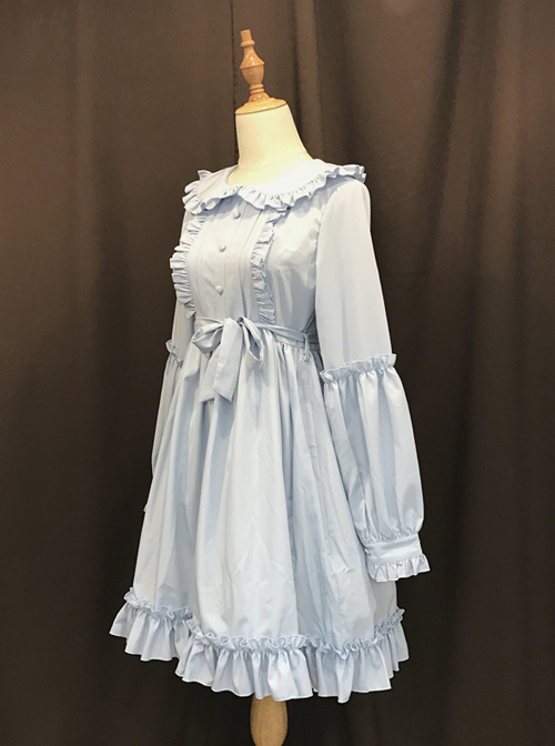 Pure Color Doll Collar Classic Lolita Long Sleeves Dress