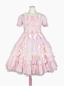 Cute Bowknot Short Sleeves Pompon Sweet Lolita Dress