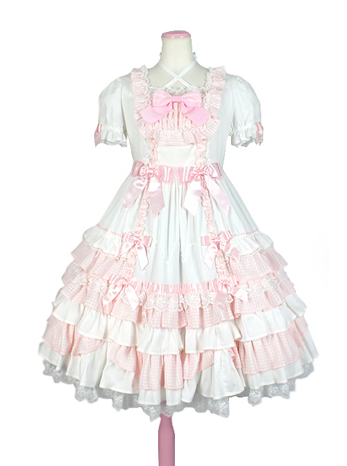 Cute Bowknot Short Sleeves Pompon Sweet Lolita Dress