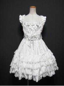White Multi-storey Ruffles Sleeveless Sweet Lolita Dress