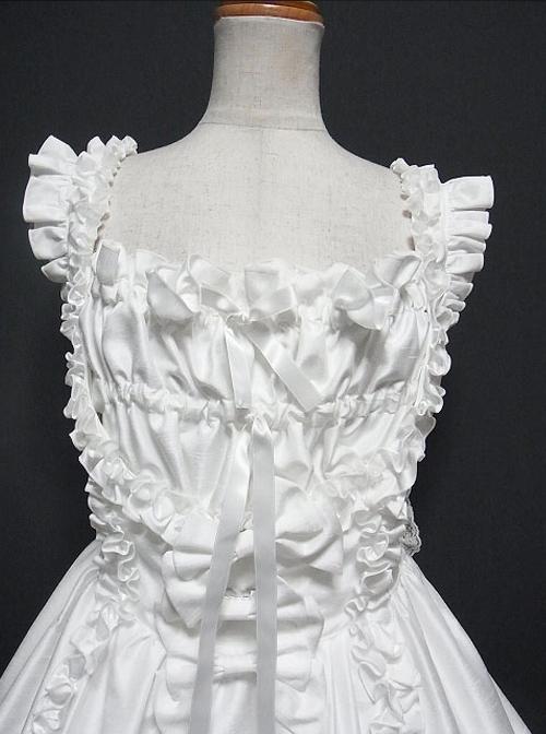 White Multi-storey Ruffles Sleeveless Sweet Lolita Dress