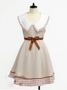 Lapel Bowknot Double-breasted Sleeveless Classic Lolita Dress