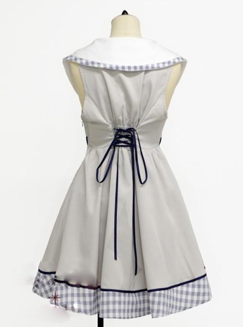 Lapel Bowknot Double-breasted Sleeveless Classic Lolita Dress