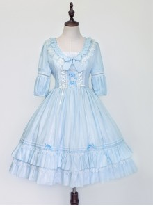 Jacquard Cotton Pure Color Classic Lolita Half Sleeves Dress