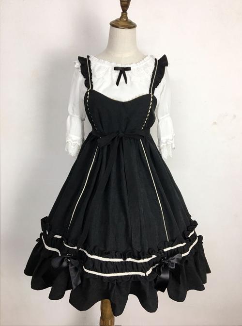 Black Elegant Bowknot Classic Lolita Sling Dress