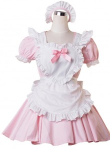 Pink Short Sleeves Lace Ruffles Sweet Lolita Maid Dress