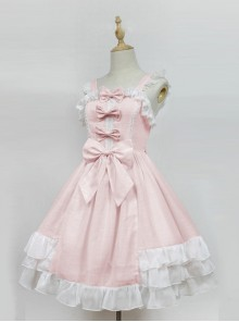 Cream Mousse Macarons Color Plaid Classic Lolita Sling Dress