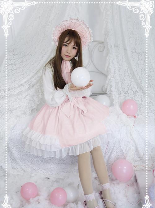 Cream Mousse Macarons Color Plaid Classic Lolita Sling Dress