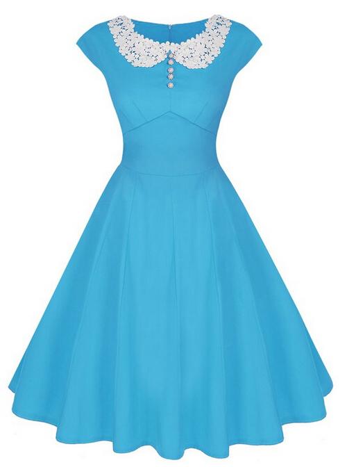 Sexy Lace Collar Slim A-line Dress