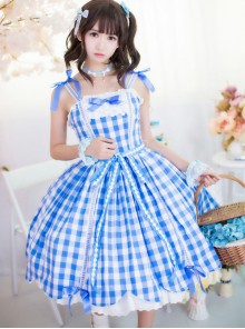 Pure Cotton Plaid Sweet Lolita Sling Dress
