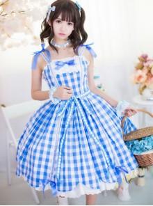 Pure Cotton Plaid Sweet Lolita Sling Dress