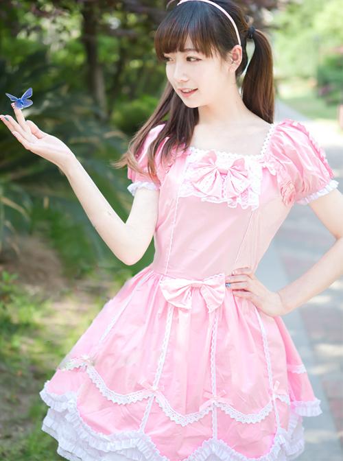 Pink Short Sleeves Sweet Bow Lolita Dress