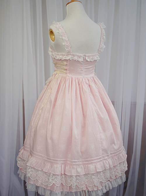 Pink Short Sleeves Sweet Lace Bow Ruffles Lolita Dress