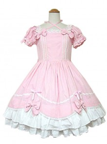 Cute Bowknot Short Sleeve Sweet Lolita Dress