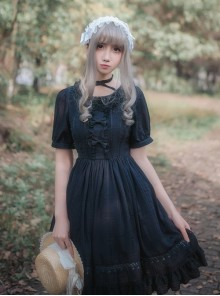Chiffon Short Sleeves Bowknot Classic Lolita Dress