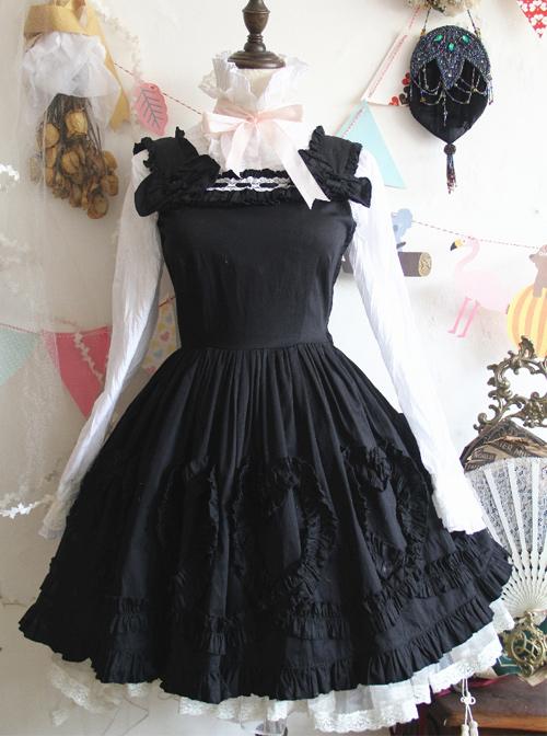 Black Cute Bowknot Slim Classic Lolita Sling Dress