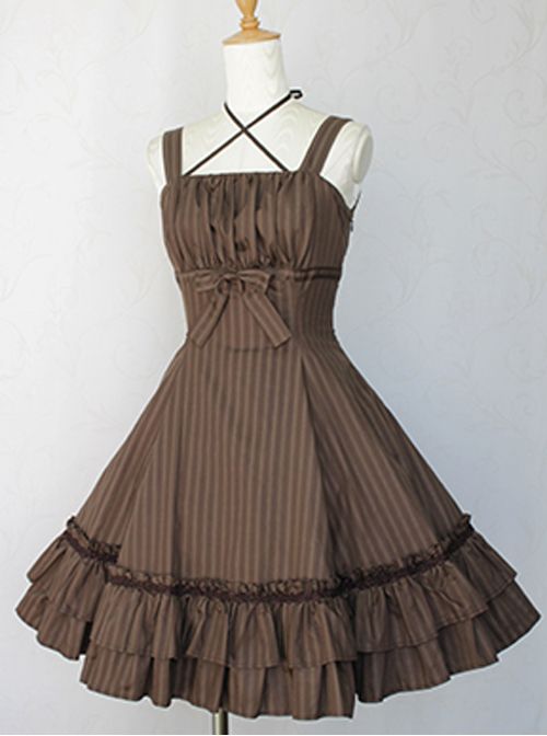Vertical Stripes Cloths Classic Lolita Sling Dress
