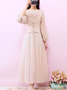 Retro Elegant Knitted Sweater And Gauze Sling Dress Set