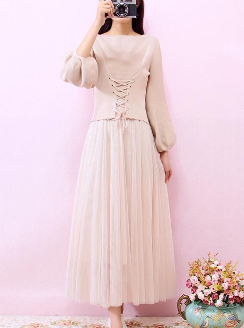 Retro Elegant Knitted Sweater And Gauze Sling Dress Set