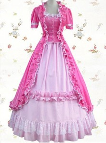 Pink Pleuche Victorian Gothic Lolita Short Sleeve Dress