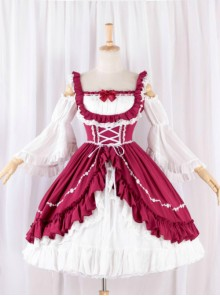 Elegant Red And White Classic Lolita Dress