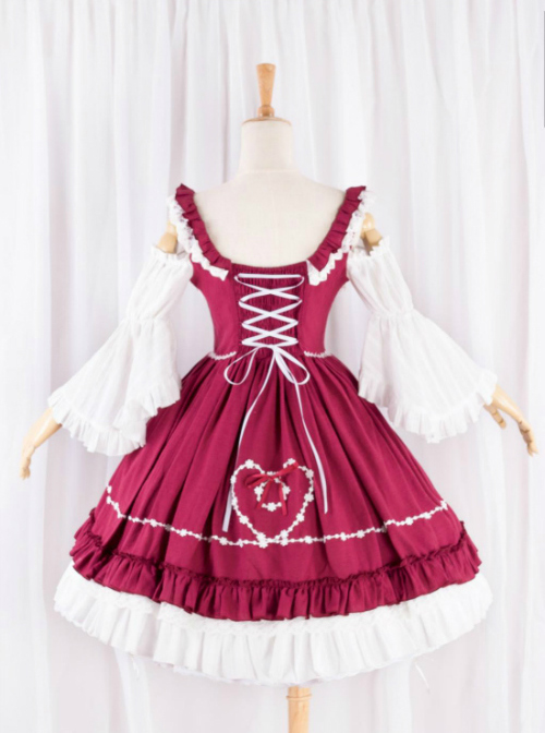 Elegant Red And White Classic Lolita Dress
