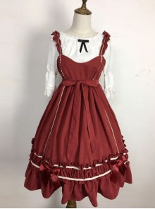 Wine Red Elegant Bowknot Classic Lolita Sling Dress