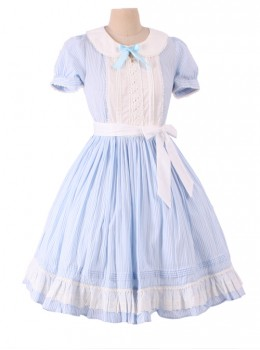 Alice In Wonderland Blue Short Puff Sleeves Classic Lolita Dress