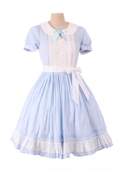Alice In Wonderland Blue Short Puff Sleeves Classic Lolita Dress