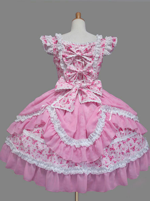 Pink And White Lace Bowknot Sweet Lolita Fly Sleeves Dress