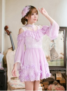 Purple Chiffon Sweet Lolita Long Sleeve Dress