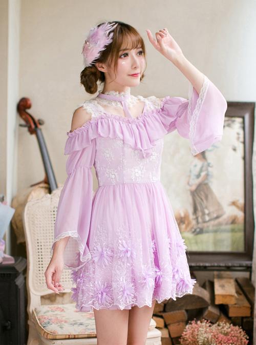 Purple Chiffon Sweet Lolita Long Sleeve Dress