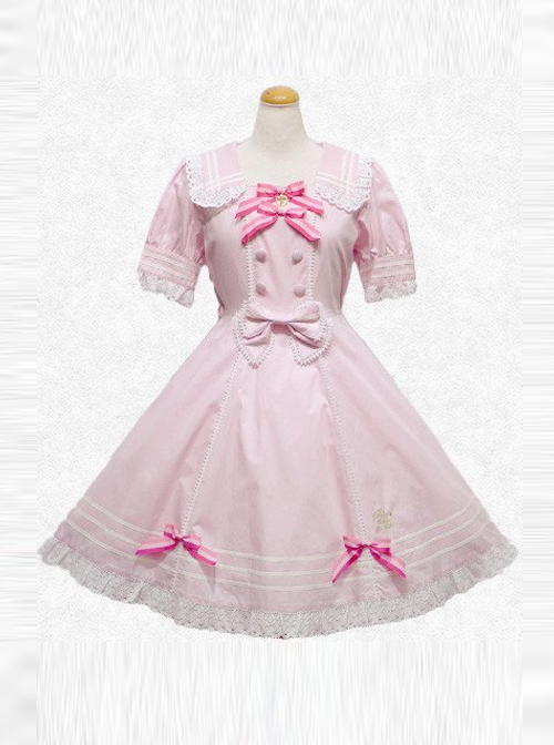 Summer's Big Miss Series Pink Short Sleeve Classic Lolita Dress