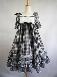 Summer Resort Girls Plaid High Waist Sweet Lolita Short Sleeves Dress