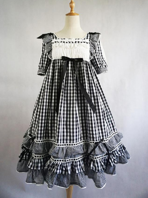 Summer Resort Girls Plaid High Waist Sweet Lolita Short Sleeves Dress