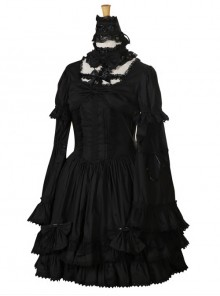 Black Long Sleeves Lace Gothic Lolita Dress