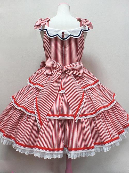 Striped Ocean Series Classic Lolita Sleeveless Dress