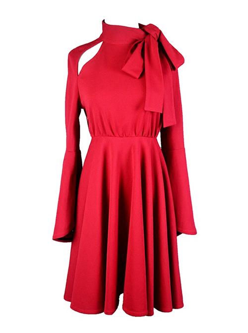 Elegant Red Horn Sleeve Butterfly Collar Classic Lolita Dress