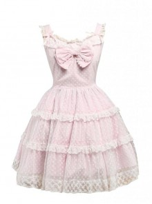 Pink Sleeveless Lace Ruffles Sweet Lolita Dress