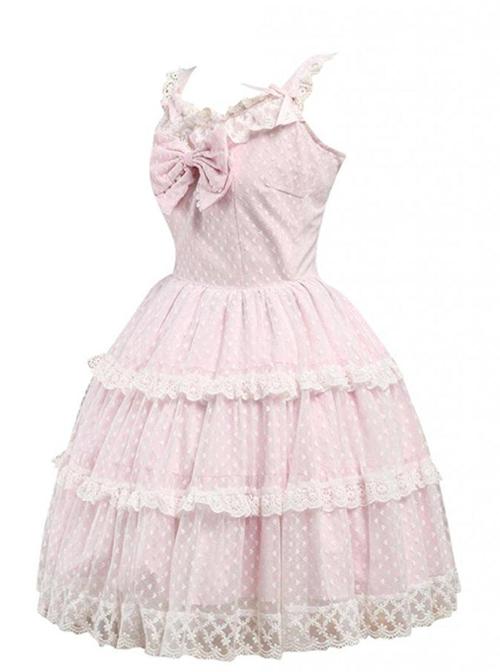 Pink Sleeveless Lace Ruffles Sweet Lolita Dress