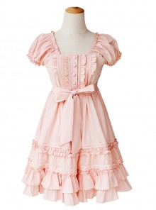 High Waist Cute Ruffle Chiffon Sweet Lolita Short Sleeve Dress