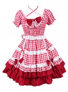 Cotton Red Plaid Ruffle Sweet Lolita Short Sleeve Dress