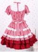 Cotton Red Plaid Ruffle Sweet Lolita Short Sleeve Dress