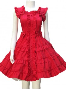 Red Sleeveless Ruffles Classic Lolita Dress